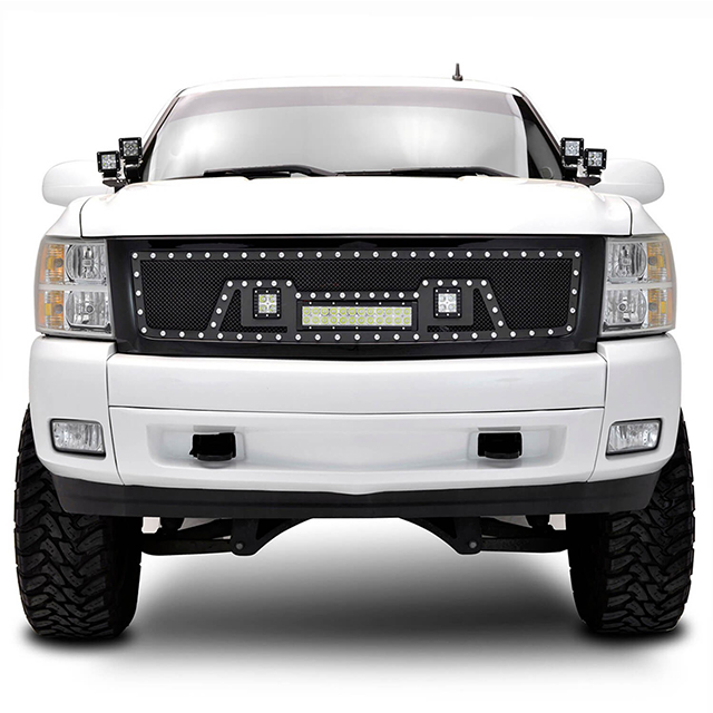 07-13 Chevy Silverado 1500 All Evolution All Black Stainless Steel Wire Mesh Packaged Grille With Three LED Lights for Chevy Silverado
