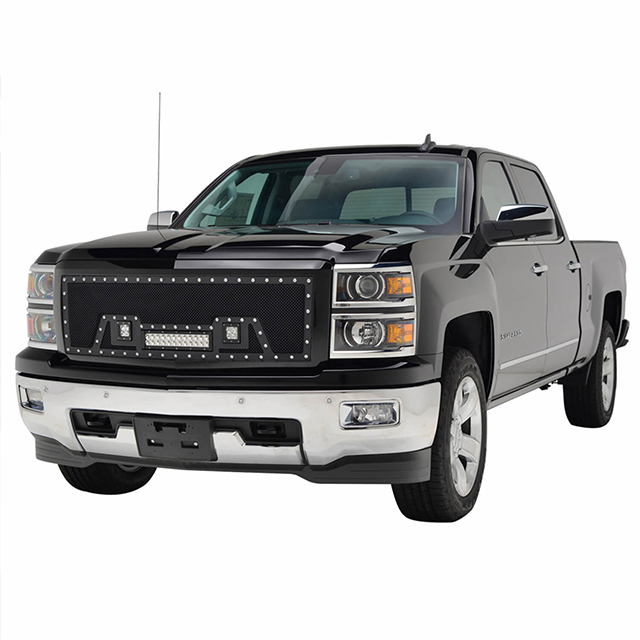 14-15 Chevy Silverado 1500 All Evolution All Black Stainless Steel Wire Mesh Packaged Grille With Three LED Lights for Chevy Silverado