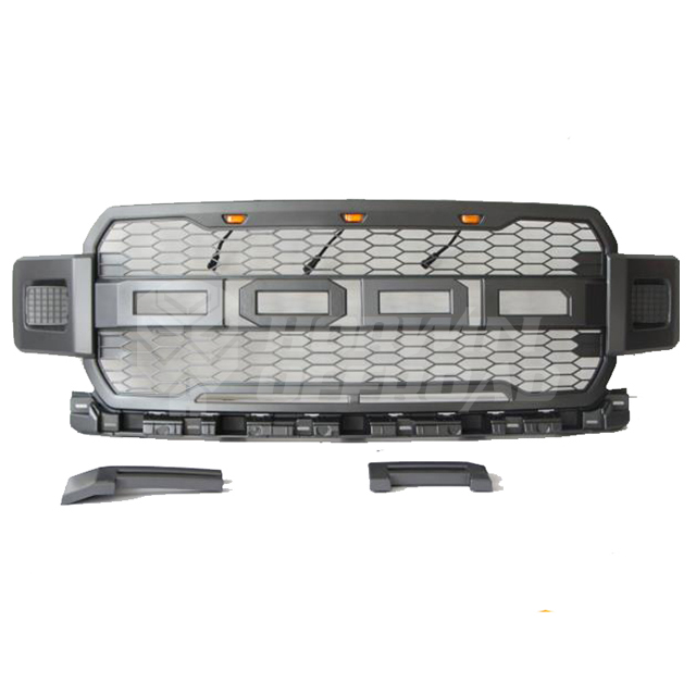 "Grey ABS Grille With Amber Led Lights ""F"" & ""R"" Removable; W/WO Two Square Led Lights"